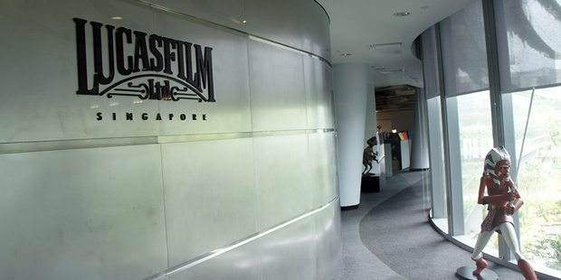 The entrance to the Lucasfilm Singapore studio.