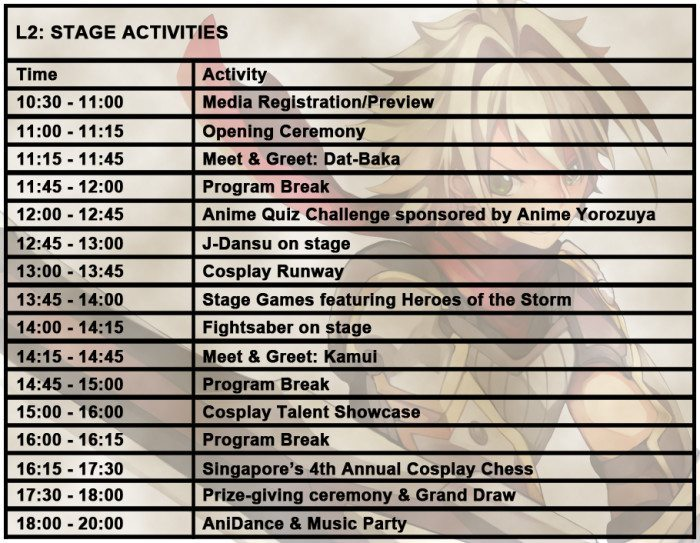 international cosplay day singapore 2014 schedule