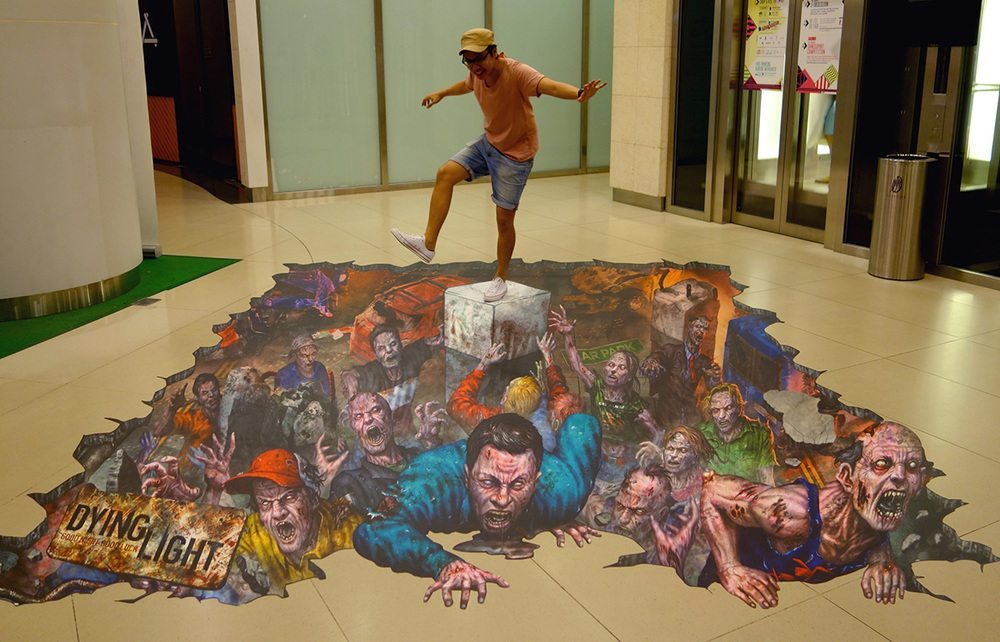 The 3D anamorphic floor art at The Cathay