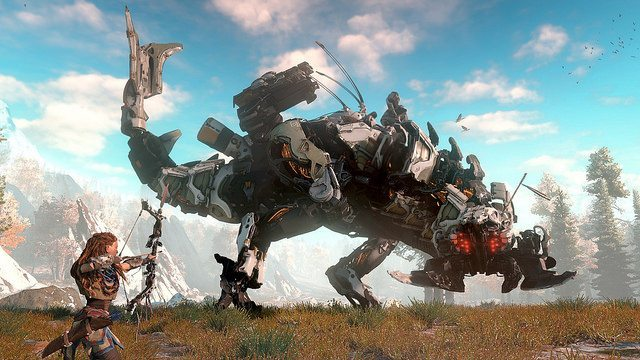 We hunt machines shaped like dinosaurs in a post-post apocalyptic world.