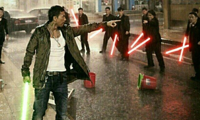 Imagine this scene from Special I.D., re-imagined as Jedi vs Sith.
