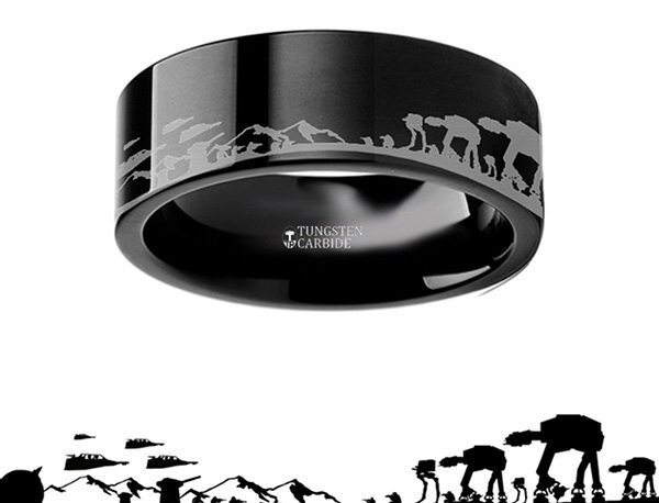 Hoth Battle Tungsten Carbide Engraved Ring