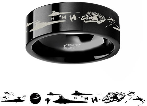 Space Battle Tungsten Carbide Engraved Ring