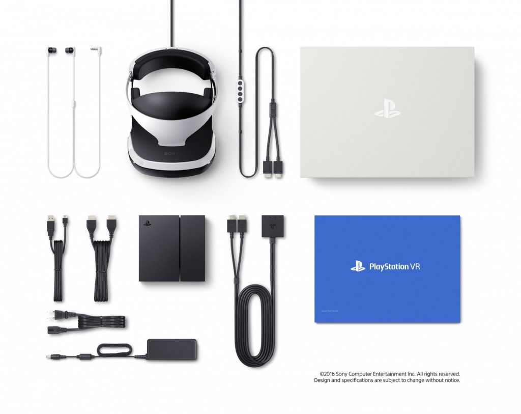 The confirmed contents of the PS VR package