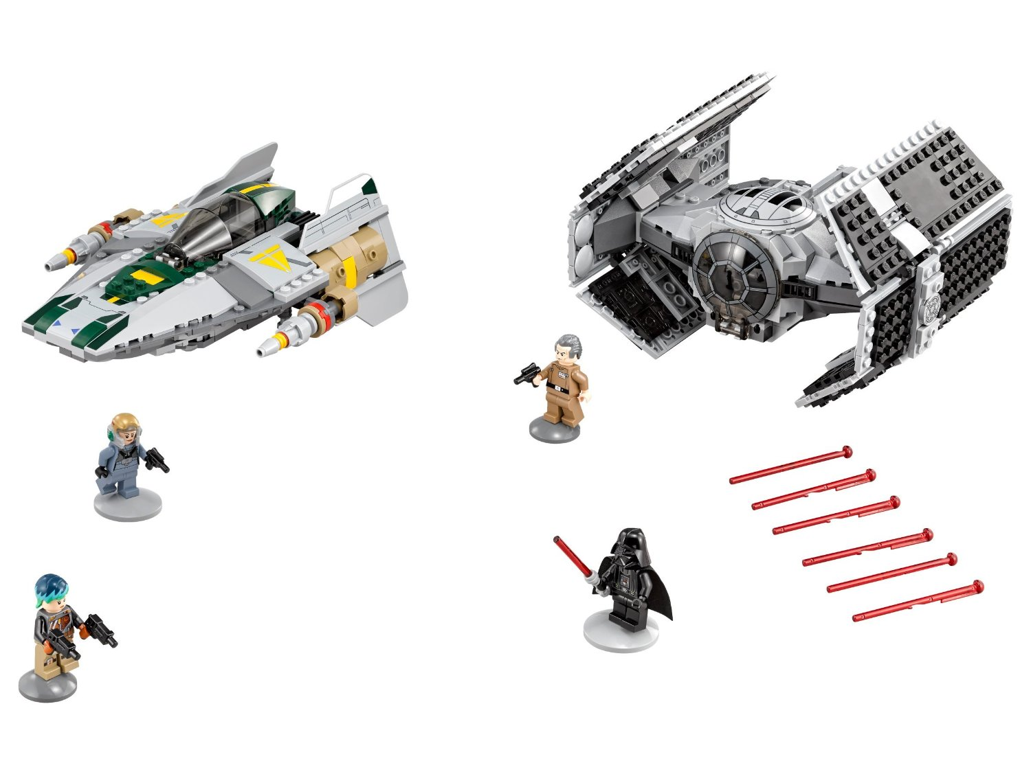 75150-vader tie advanced vs awing starfighter-bo minifig