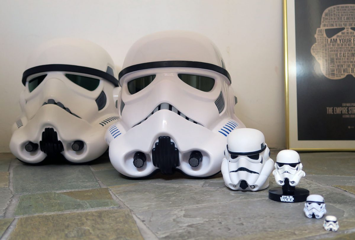A look at Stormtrooper helmets: From far right: Lego stormtrooper helmet; Black Series 6-inch figure stormtrooper helmet; Star Wars Helmet Replica Collection; Stormtrooper nightlight; Hasbro Black Series Imperial Stormtrooper Electronic Voice Changer Helmet; Star Wars Stormtrooper Helmet Replica Collectible EFX Episode IV: A New Hope