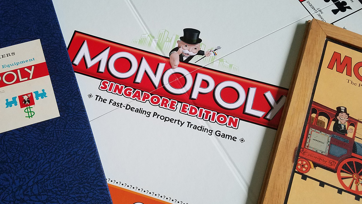 monopoly singapore Monopoly is a board game where players roll two six-sided dice to move around the game board, buying and trading properties, and developing them with houses and hotels players collect rent from their opponents, with the goal being to drive them into bankruptcymoney can also be gained or lost through chance and community chest cards, and tax squares players can end up in jail, which they.