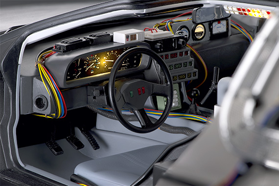 The instrument panels all light up, including the special speedometer that shows when the car reaches 88 mph.