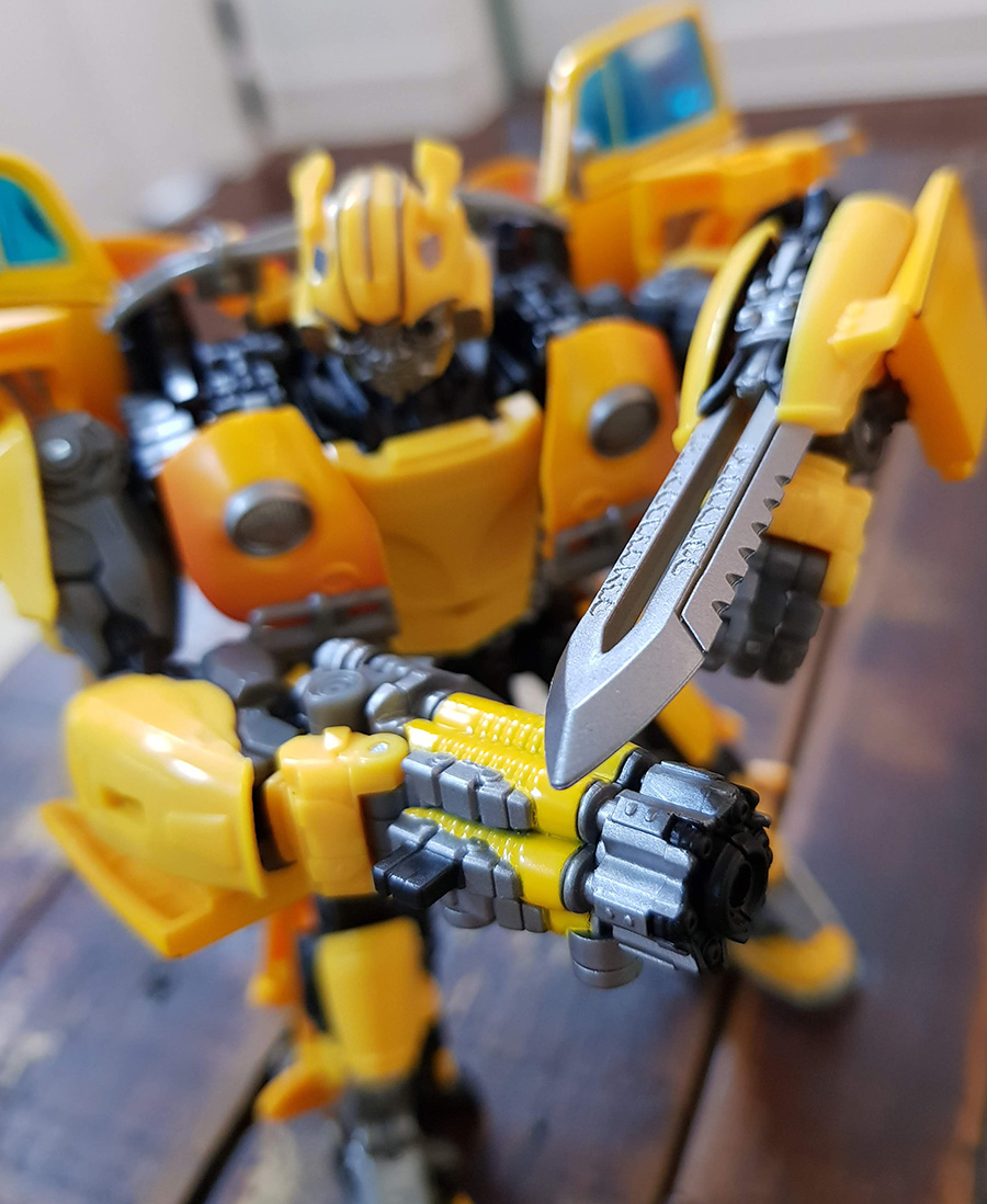 Stinger Blaster and Sword at ready.
