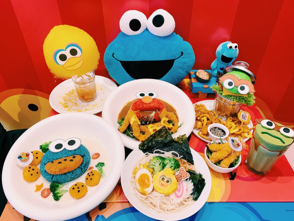 A wide variety of Sesame Street-themed food