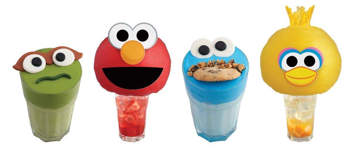 Assortment of Sesame Street-themed drinks