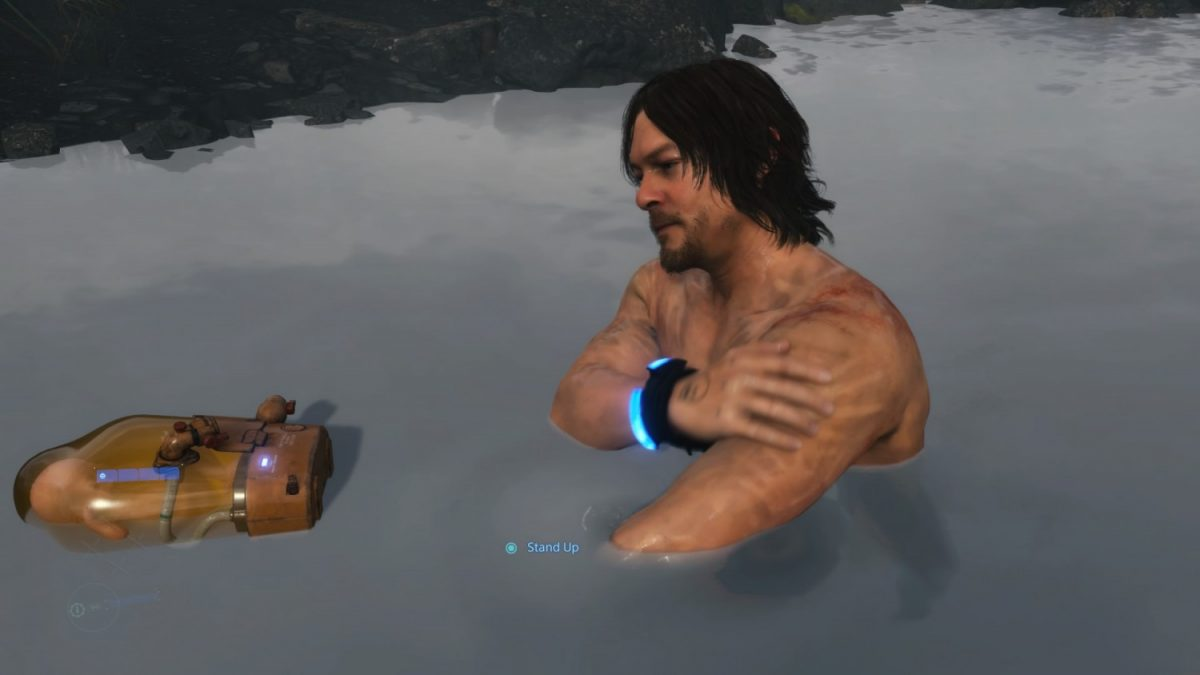 Geek Review: Death Stranding - Hot springs provide a good place to rest for Sam and BB