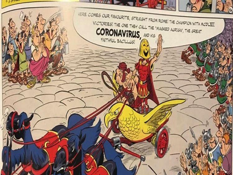 Le coronavirus est un méchant masqué d'une bande dessinée Astérix 2017