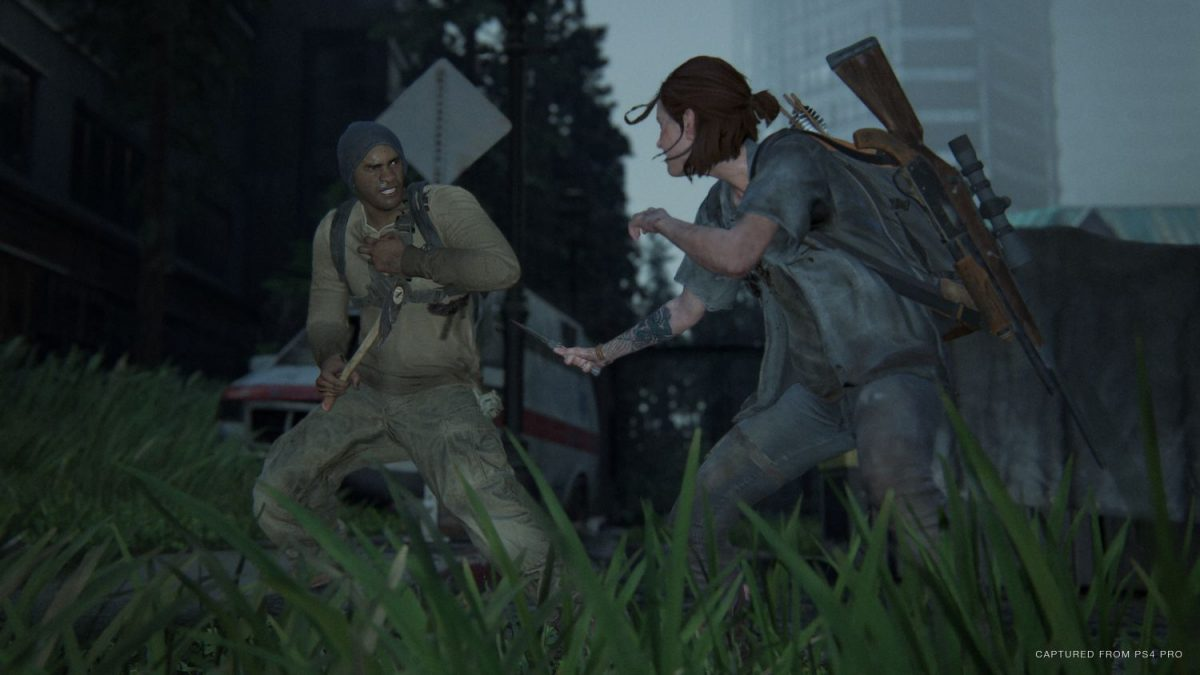 The Last of Us Part II - Ellie against a WLF soldier