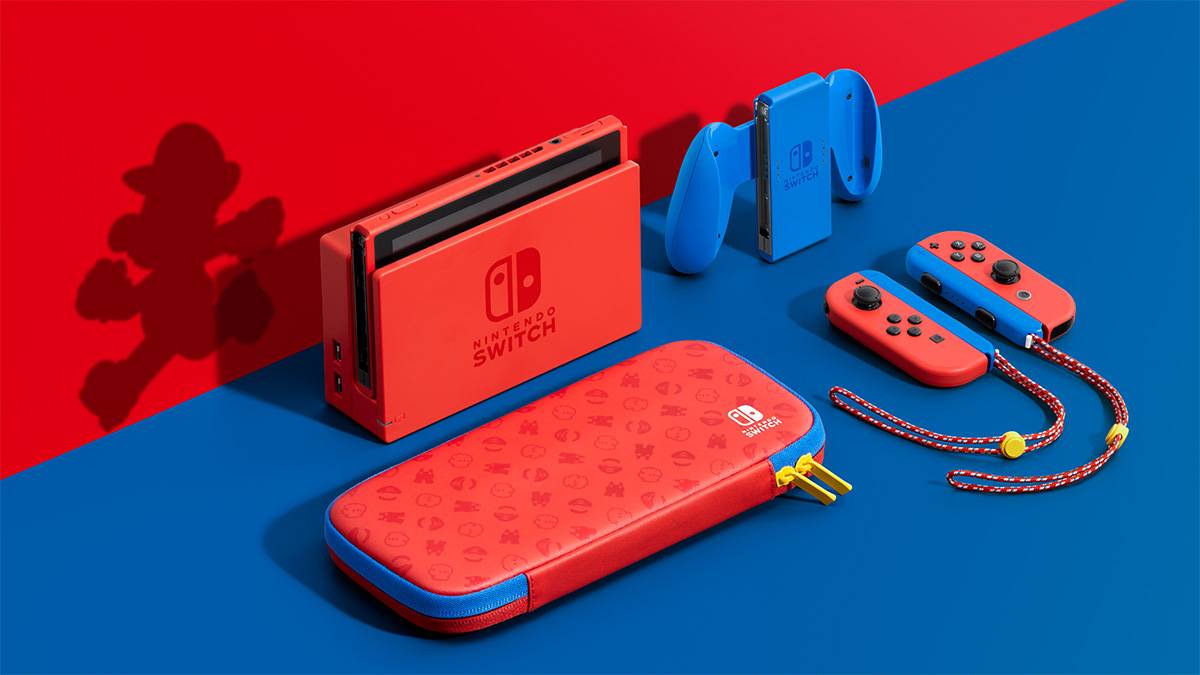 Nintendo's intensely red Mario-themed Switch will be available February 12th