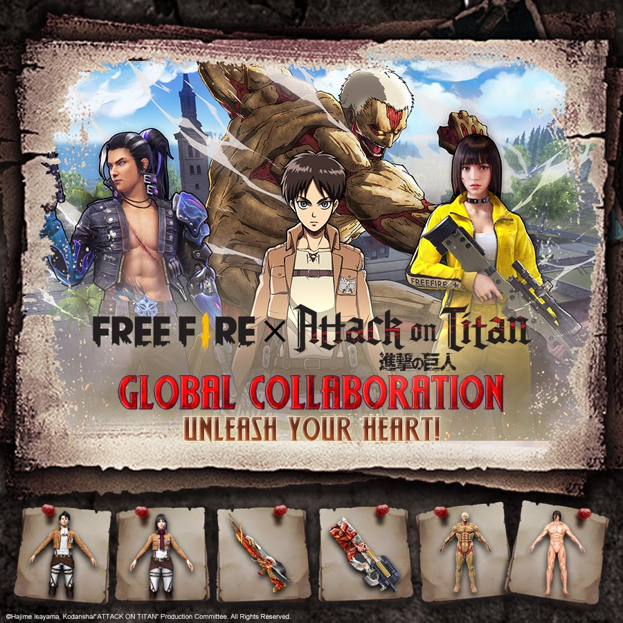 free fire and attack on titan collaboration