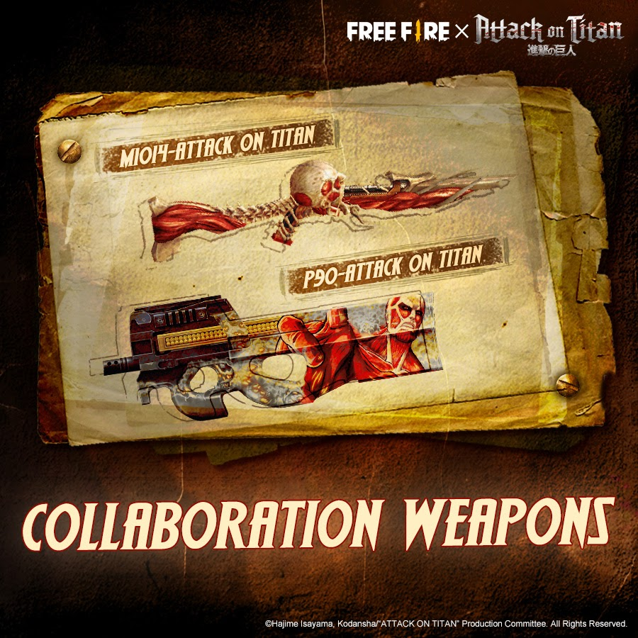 free fire' attack on titan weapon