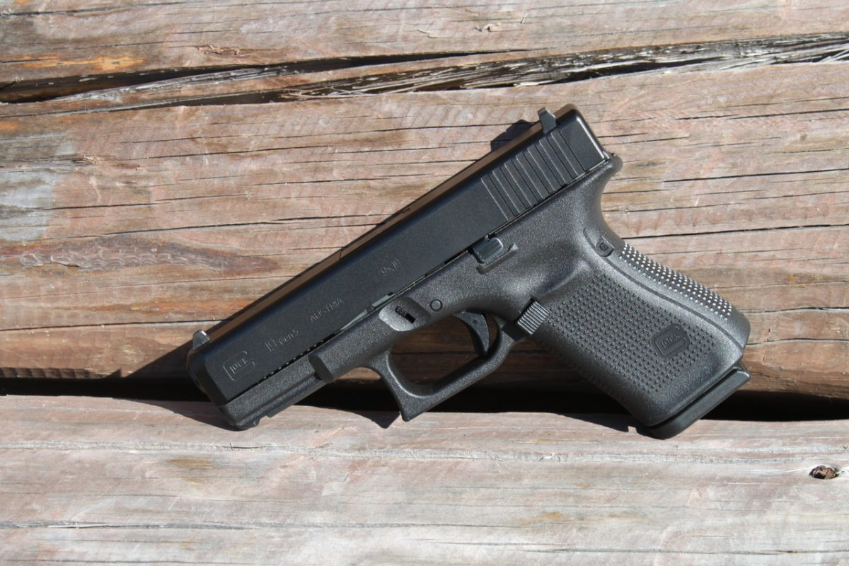 A real Glock pistol, which the LEGO-variant is based on.