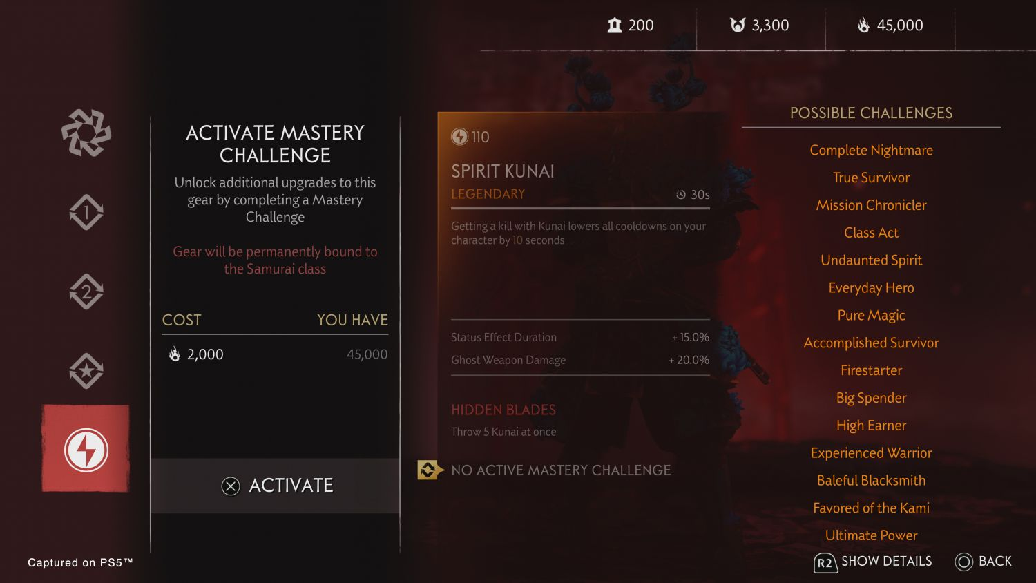 Ghost of Tsushima: Legends' Mastery Challenges